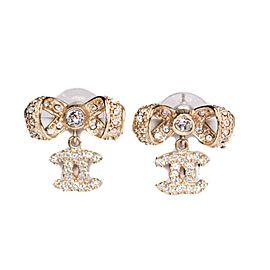 Chanel - Ribbon Earrings CC Crystal - Silver Gold Dangle Rhinestone Bow Stud