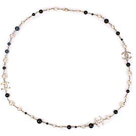 Chanel - CC Pearl Necklace - 3 CC Long - Black & White Rhinestone Crystal
