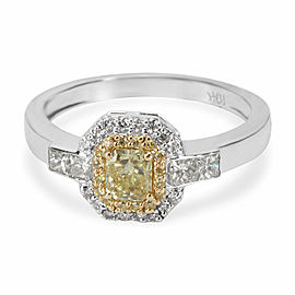 Yellow Diamond Halo Ring in 18KT Yellow Gold 0.68ctw
