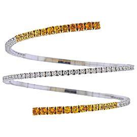 Stefan Hafner Yellow Orange Sapphire Diamond Gold Wrap Bracelet