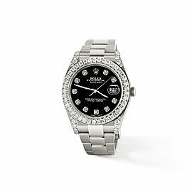 Rolex Datejust II 41mm 4.5CT Diamond Bezel/Lugs/Black Dial Watch Box papers