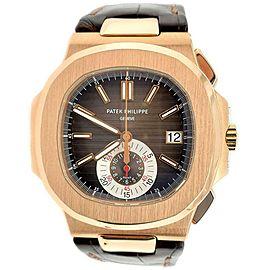 Patek Philippe 5980R Nautilus Chronograph Rose Gold Watch Box Papers 2017