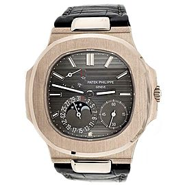 Patek Philippe Nautilus Moohphase 40mm Grey Dial White Gold Watch Box Papers