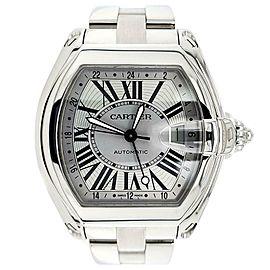 Cartier Roadster XL GMT 43mm Silver Roman Dial Steel Watch W62032X6