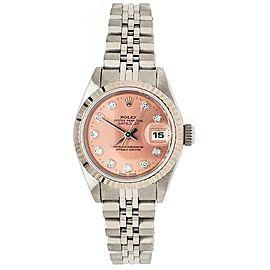 Rolex Datejust 26mm Factory Diamond Dial/White Gold Bezel/Steel Watch 69174