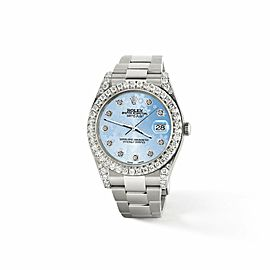 Rolex Datejust II 41mm 4.5CT Diamond Bezel/Lugs/Blue Floral Dial Box Papers