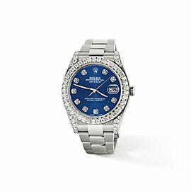 Rolex Datejust II 41mm 4.5CT Diamond Bezel/Lugs/Cobalt Blue Dial