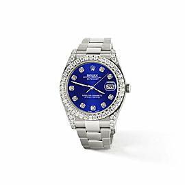 Rolex Datejust II 41mm 4.5CT Diamond Bezel/Lugs/Navy Blue Dial Watch