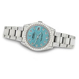 Rolex Datejust 36mm 5.9ct Diamond Bezel/Lugs/Bracelet/Turquoise Dial