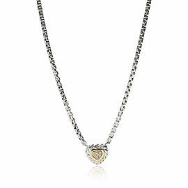 David Yurman Cookie Heart Diamond Necklace in 18K Gold/Sterling Silver 0.05 CTW