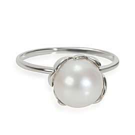 Tiffany & Co. Paloma Picasso Olive Leaf Pearl Ring in Sterling Silver
