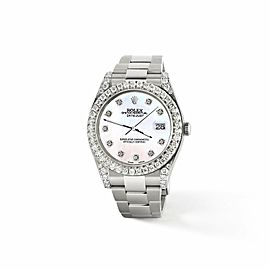 Rolex Datejust II 41mm 4.5CT Diamond Bezel/Lugs/White Pearl Dial Box Papers