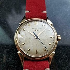 Mens Longines 34mm 14k Solid Gold Manual 1960s Dress Watch Vintage LV818RED