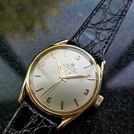 Mens Zenith 33mm 18k Solid Gold Bumper Automatic 1950 Dress Watch Swiss LV855BLK