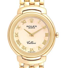 Rolex Cellini Yellow Gold Ivory Roman Dial Mens Watch 6623 Box Papers