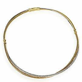 David Yurman Crossover Diamond Choker Necklace in 18K 2 Tone Gold 0.60 CTW