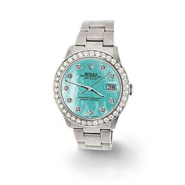 Rolex Datejust Midsize 31mm 1.52ct Bezel/Aquamarine MOP Dial Steel Oyster Watch