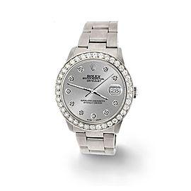 Rolex Datejust Midsize 31mm 1.52ct Bezel/Silver Diamond Dial Steel Oyster Watch