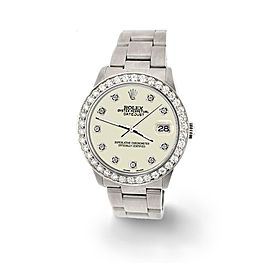 Rolex Datejust Midsize 31mm 1.52ct Bezel/Linen White Dial Steel Oyster Watch