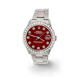 Rolex Datejust Midsize 31mm 1.52ct Bezel/Imperial Red Dial Steel Oyster Watch