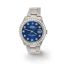 Rolex Datejust Midsize 31mm 1.52ct Bezel/Cobalt Blue Dial Steel Oyster Watch