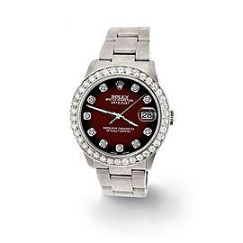 Rolex Datejust Midsize 31mm 1.52ct Bezel/Maroon Vignette Dial Steel Oyster Watch