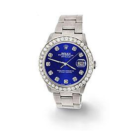 Rolex Datejust Midsize 31mm 1.52ct Bezel/Navy Blue Dial Steel Oyster Watch
