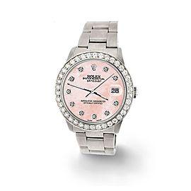 Rolex Datejust Midsize 31mm 1.52ct Bezel/Royal Pink MOP Dial Steel Oyster Watch
