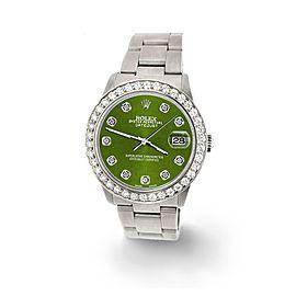 Rolex Datejust Midsize 31mm 1.52ct Bezel/Royal Green Dial Steel Oyster Watch