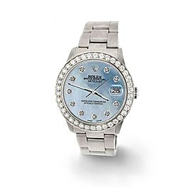 Rolex Datejust Midsize 31mm 1.52ct Bezel/Sky Blue MOP Dial Steel Oyster Watch