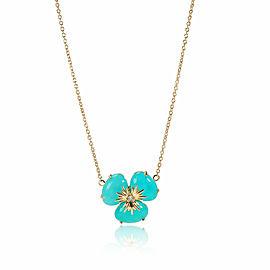 Amazonite Diamond Flower Necklace in 18K Yellow Gold 0.02 CTW