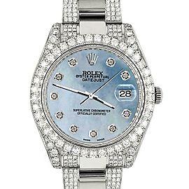 Rolex Datejust II 41mm 10.3CT Diamond Bezel/Case/Bracelet/Sky Blue MOP