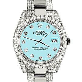 Rolex Datejust II 41mm 10.3CT Diamond Bezel/Case/Bracelet/Aqua Blue/Box Papers
