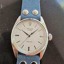 Mens Rolex Oyster Precision Ref 6422 34mm Hand-Wind 1950s Swiss Vintage MA203BLU