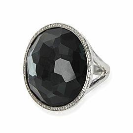 Ippolita Rock Candy Hematite Diamond Fashion Ring in Sterling Silver 0.23 CTW