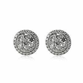 Halo Diamond Cluster Stud Earrings in 14K White Gold 1.50 CTW