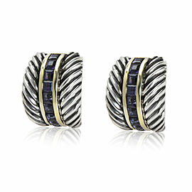 David Yurman Cable Iolite Earring in 14K & 18K Yellow Gold/Sterling Silv