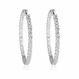Inside Out Diamond Hoop Earrings in 14K White Gold 4.00 CTW