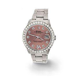 Rolex Datejust Midsize 31mm 1.52ct Bezel/Salmon Diamond Roman VI Dial Watch