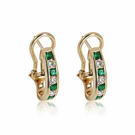 Tiffany & Co. Vintage Emerald Diamond Hoop Earring in 18K Yellow Gold 0.48 CTW