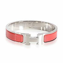 Hermes Clic H Rouge Corail Palladium Plated Bracelet Size PM