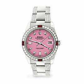 Rolex Datejust 36mm 4.5Ct Diamond Bezel/Bracelet/Hot Pink Dial 116200 Watch