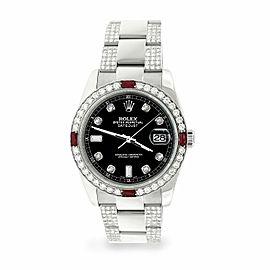 Rolex Datejust 36mm 4.5Ct Diamond Bezel/Bracelet/Black Dial 116200 Steel Watch
