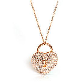 Tiffany & Co. Heart Lock Diamond Pendant in 18K Rose Gold 1.06 CTW