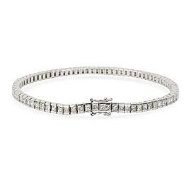 Princess Cut Channel Set Diamond Tennis Bracelet in 18K White Gold 5 CTW