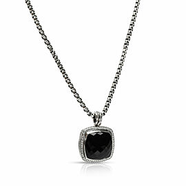 David Yurman Albion Black Onyx Diamond Necklace in Sterling Silver 0.78 CTW