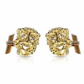Bacchus Diamond Cufflinks in 18K Yellow Gold 0.04 CTW