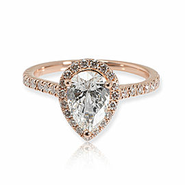 GIA Certified Pear Shape Diamond Engagement Ring in 14K Rose Gold E SI1 1.38 CTW