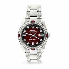 Rolex Datejust 36mm 4.5Ct Diamond Bezel/Bracelet/Maroon Vignette Dial Watch
