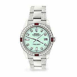 Rolex Datejust 36mm 4.5Ct Diamond Bezel/Bracelet/Light Malachite Dial Watch
